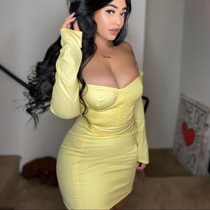 YELLOW RUCHED DRESS W/ TAGS
